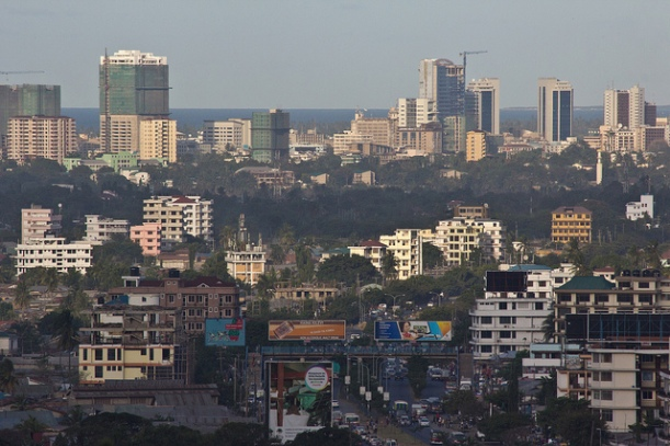 Dar es Salaam, Tanzania, is an example of rapid urbanization in Africa. Photo by Andrew Moore, via Flickr CC.